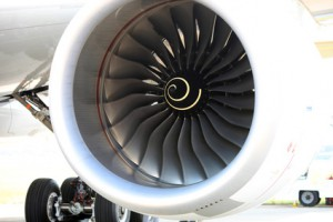 A fan of a rolls royce engine of Airbus A350-800